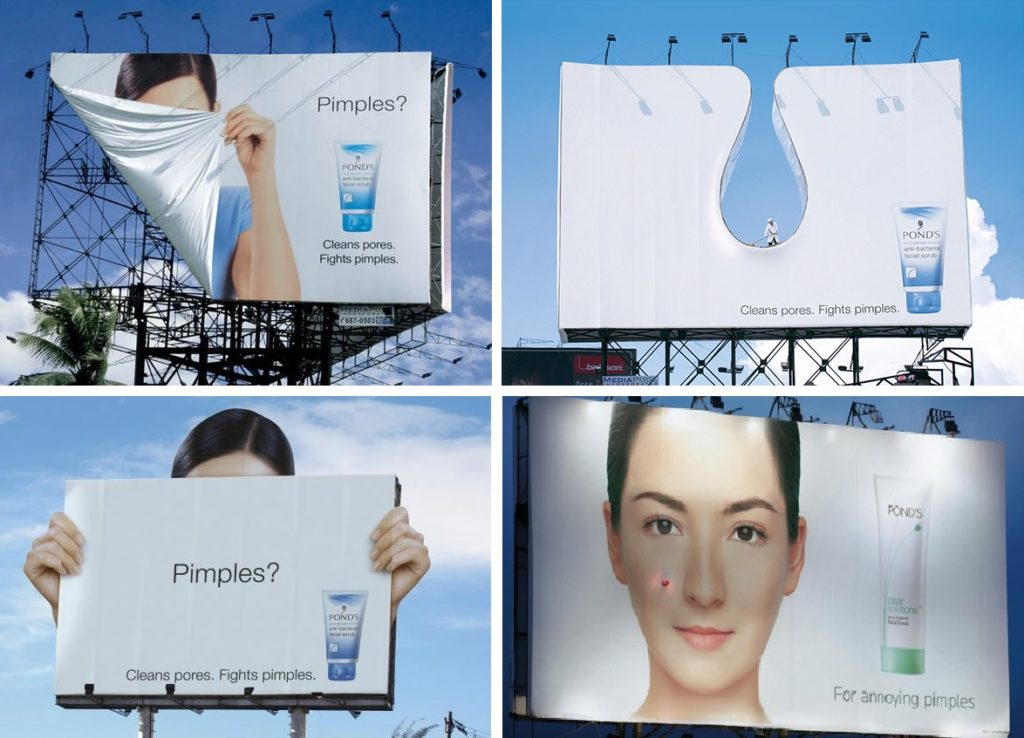 kilka bilbordów z reklamą kremu oczyszczającego Pond's. Zabawne i estetyczne. Bardzo kreatywne, bez czytania od razu wiadomo o co chodzi